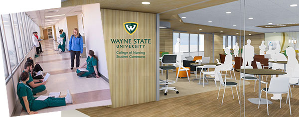 photo of students studying in hallway next to rendering of proposed study space