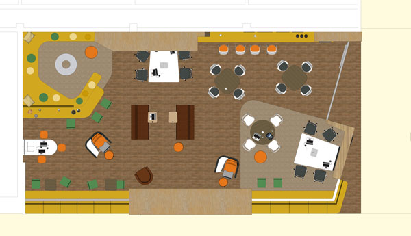 Artist rendering of student commons layout