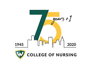 WSU College of Nursing 75th anniversary logo with Detroit skyline and years 1945 and 2020